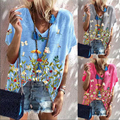 2021 Fashion Summer Pullover Women's Floral Print Short Sleeve Loose Tops Plus Size Casual Basic T-shirt