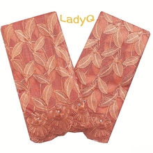 LadyQ African Lace Fabric 2020 High Quality Stones Cord French Net Tulle Mesh Fabrics Latest Orange Color