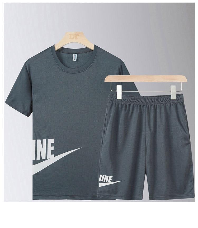 2020 Casual Man Outerwear Clothes Summer Men Set Fitness Suit Sports Suits Short Sleeve T-shirt + Shorts Quick Dry 2 Pieces Set