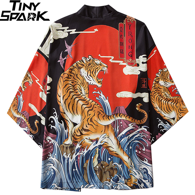 Japanese Kimono Jacket Roaring Tiger Print Harajuku 2020 Hip Hop Men Japan Streetwear Jacket Summer Thin Clothing Loose Kimono