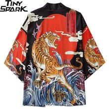 Kimono Jacket Clothing Tiger-Print Harajuku Japanese Men Summer Hip-Hop Loose Roaring
