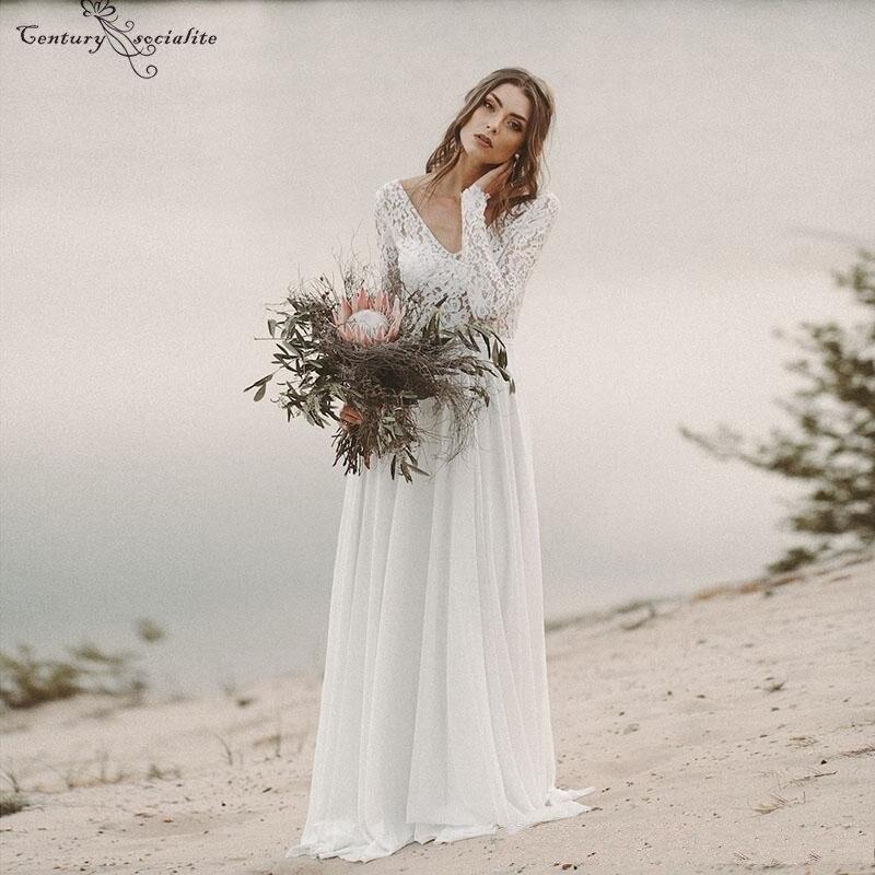 Lace Boho Wedding Dresses Long Sleeves Backless Sweep Train Chiffon Beach Bridal Gowns Bohemian Bride Dress vestido de noiva