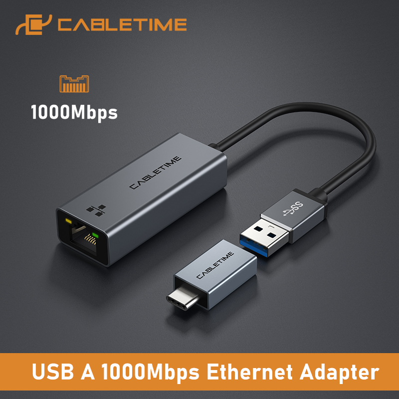 CABLETIME USB Ethernet Adapter 1000Mbps USB 3.0 2.0 LAN RJ45 Adapter for Laptop Nintendo Switch Macbook Air USB LAN C358 1