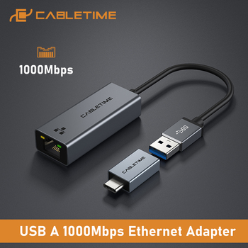 CABLETIME USB Ethernet Adapter 1000Mbps USB 3.0 2.0 LAN RJ45 Adapter for Laptop Nintendo Switch Macbook Air USB LAN C358 1