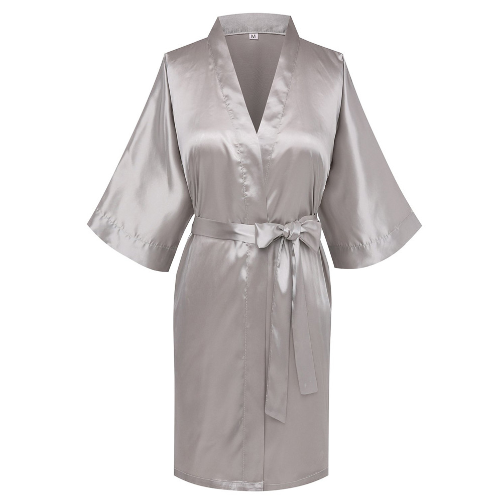 Casual Bride Bridesmaid Wedding Robe Gray Half Sleeve Home Clothing Satin Nightgown Kimono Bathrobe Lounge Sleepwear Pajamas