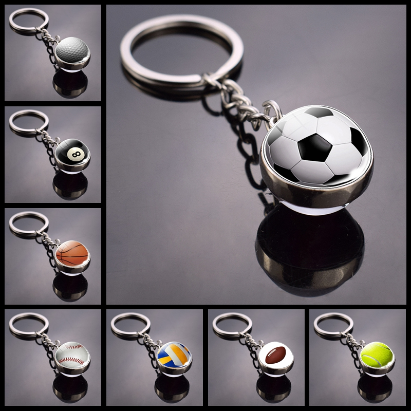 Soccer Basketball Crystal Keychain Sport Double Sided Glass Ball Key Holder Ring For Sports Team For Men Women Key Rings Gift