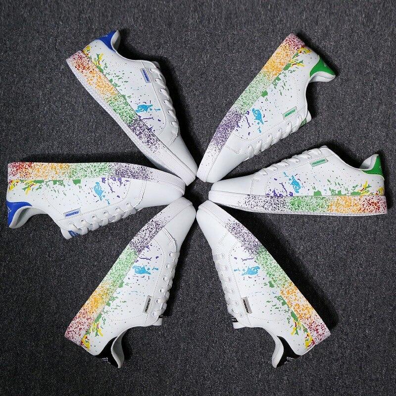 Chaussures unisexes nouveaux décontracté chaussures vulcanisées blanc baskets hommes mode à lacets chaussures en cuir Sport Graffiti conseil chaussures grand