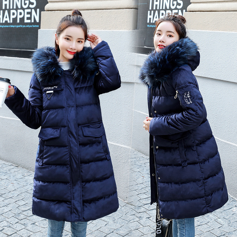 2018 New Style Korean-style WOMEN'S Cotton Clothes Thick Fur Collar Slim Fit Down Feather Cotton-padded Clothes Mid-length Stude