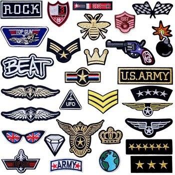 Parches de hierro de rango de ejército soldado militar, apliques bordados de costura para chaquetas, adhesivos para ropa, insignias, accesorios de ropa DIY