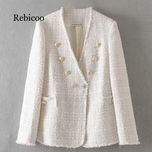 Womens elegant white coat double-breasted V-neck button jacket office womens casual