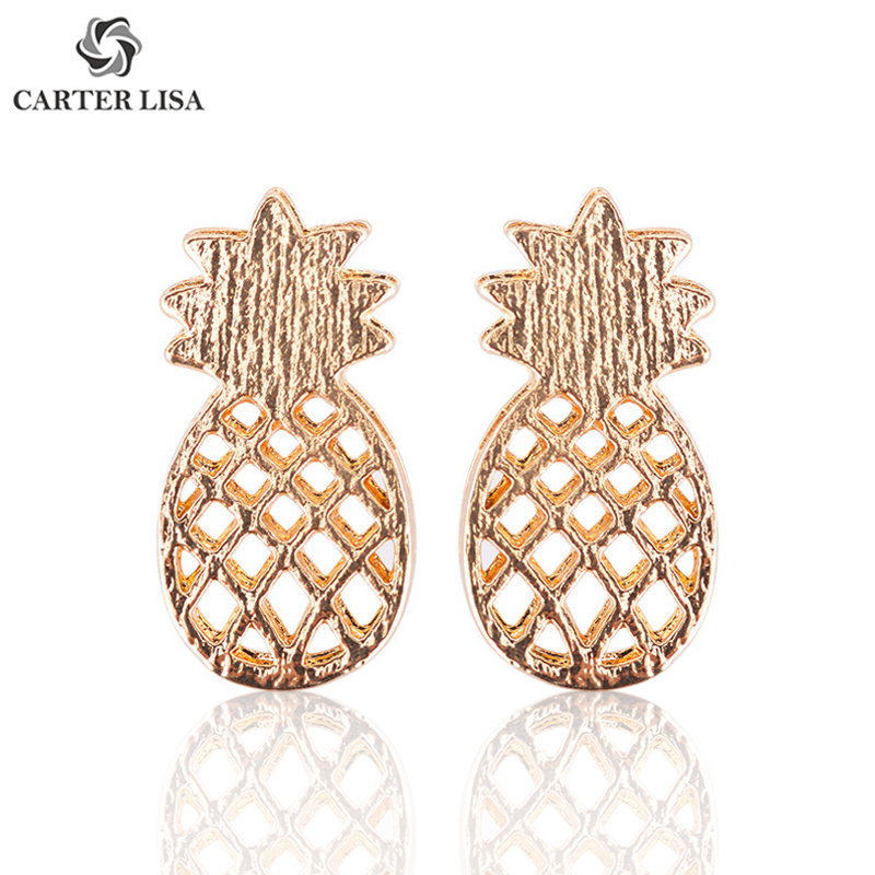 CARTER LISA Fashion Sweet Cute Fruit Stud Earrings Gold/Silver Pineapple Stud Earrings For Women Girl Jewelry Frientes Wholesale