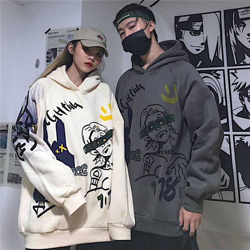 NiceMix Baggy Graphic Hoodie Men Hip Hop Fleece Warm Graffiti Print Hooded Hoodie Sweatshirt Harajuku Streetwear Pullover 2019 W