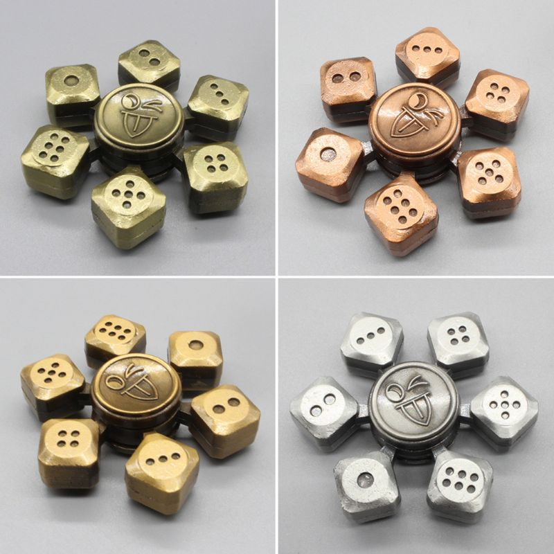 Hand Spinner Game Dice Style Zinc Alloy Bearing High Speed Spinning Relief Toy