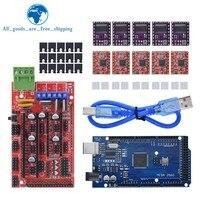 Panel de control para impresora 3D Mega 2560 R3 + rampas 1,4, Unidad de Motor paso a paso para kit arduino, A4988 o DRV8825, 5 uds.