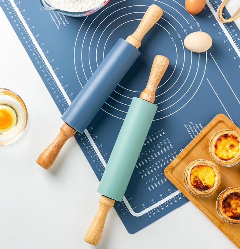 Rolo de farinha de massa de massa de massa de massa de silicone antiaderente ferramenta de cozimento de cozinha para massa de biscoito de massa de macarrão