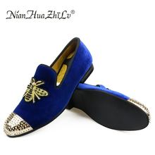 NIAN HUA ZHI LV Handmade Golden Toes Men's Velvet Loafers Wedding Party Men Shoes Luxury Brand Noble Elegant Dress Shoes for Men piergitar brand new burgundy color velvet men handmade shoes party and wedding men tassel loafers plus size men s dress shoes