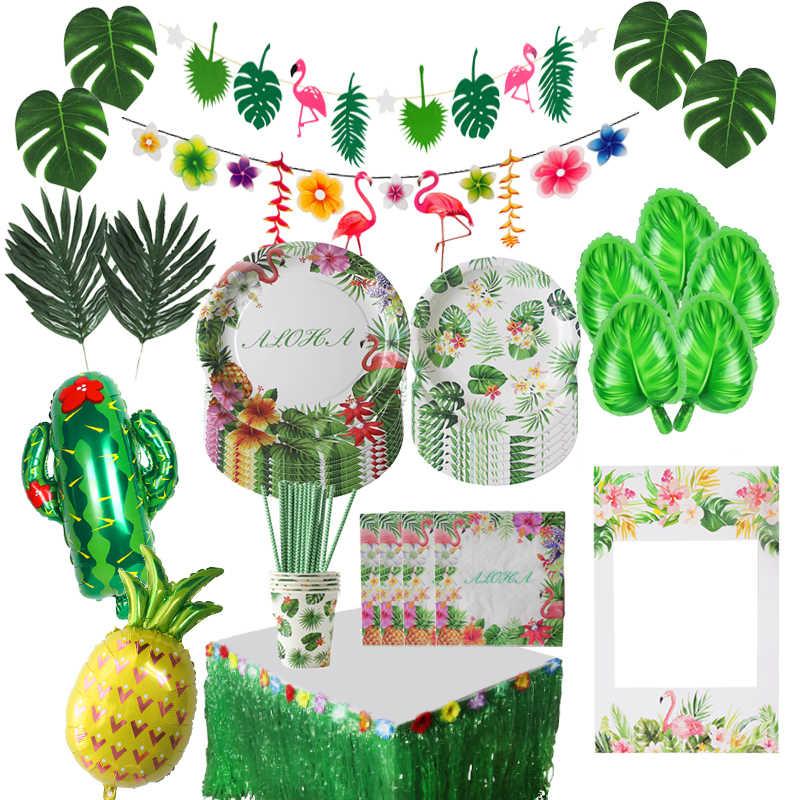 Hawaii tropikal Flamingo Bunting Garland parti dekorasyon orman plaj tema malzemeleri palmiye yaprağı Topper yaz düğün parti
