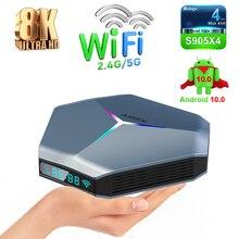 Amlogic S905X4 inteligentny Android 10 TV, pudełko A95X F4 RGB 4K HD YouTube 4GB RAM 32GB 64GB 128GB ROM 2.4G 5G Wifi BT dekoder 2G 16G
