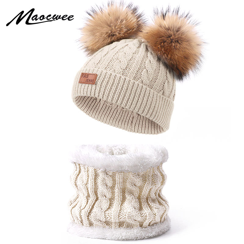 Double Real Fur Pom Pom Beanies Hat Scarf Set For Children Winter Knitted Warm Bonnet Neck Ring Scarf With Lining For Girls Boys