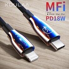 Кабель KUULAA Type C Lightning, кабель MFI PD USB C для iPhone 11 Pro Max X XS 8 XR, кабель быстрой зарядки Type C для Macbook iPad