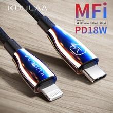 Kuulaa tipo c ao cabo do relâmpago mfi pd usb c cabo para iphone 11 pro max x xs 8 xr tipo de carregamento rápido cabo c para macbook ipad