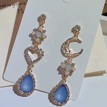 Romantic girly  moon retro heart drop earrings jewelry korean fashion green bohemian indian