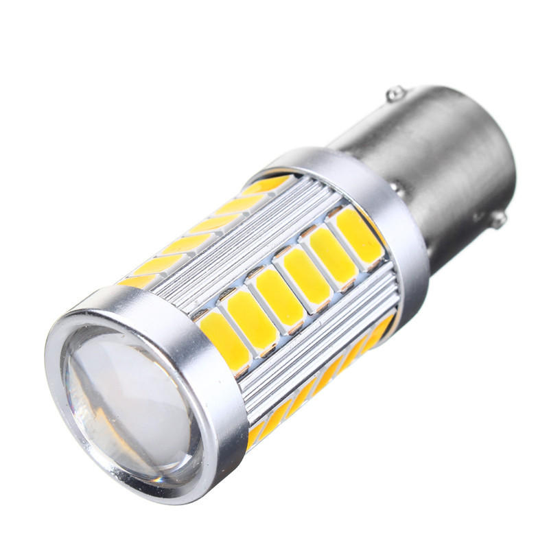 1pcs 1156 BAU15S PY21W Yellow LED Bulbs 33 5730 SMD Side Marker Reverse Light Dome Brake Tail Lamp Yellow For DC 12V