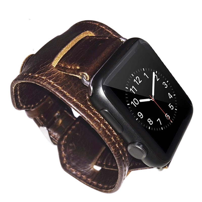 Apple watch band 42mm Genuine Leather Replacement bracelet 44mm with Secure Metal Clasp Buckle for iwatch 5 Sport Edition brown
