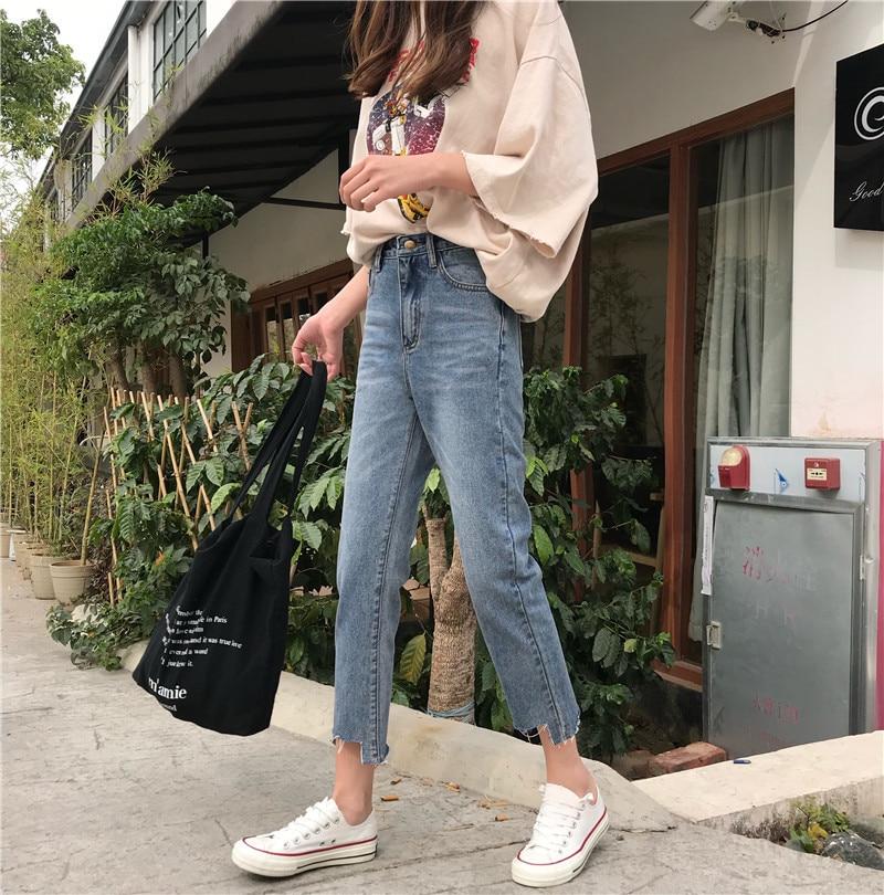 Spring New Style WOMEN'S Dress Korean-style Slacks Foot Gap Irregular High Waist Jeans Students Capri Straight-leg Pants Fashion