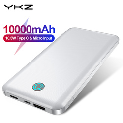 YKZ Mini Power Bank 10000mah Portable USB Micro Powerbank Fast Charge Mobile Phone Charger Type C Port External Battery