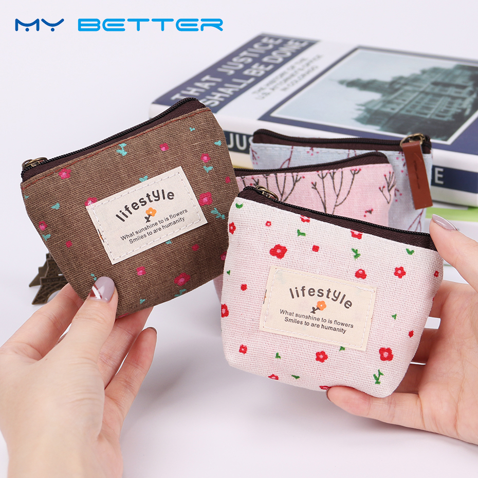 Small Fresh Pastoral Style Coin Purse Lady Canvas Zipper Wallet Lady Coin Case Bag Handbag Key Holder