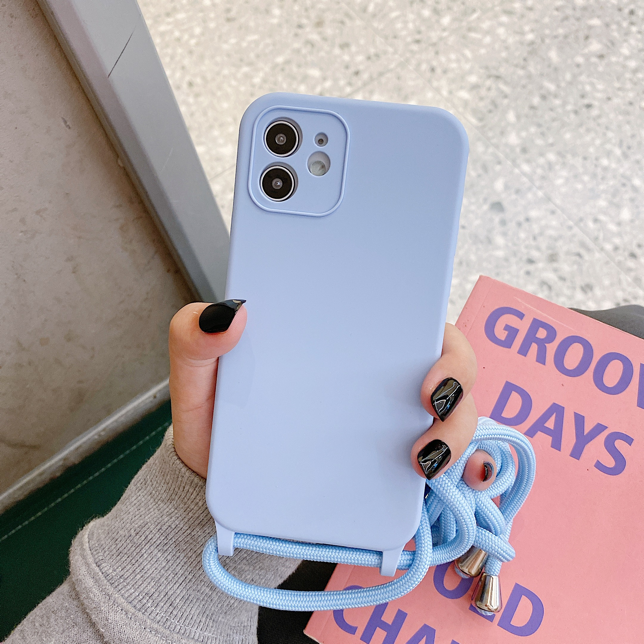 Crossbody Lanyard Liquid Silicone Case For iPhone 12 11 Pro Max XS X XR SE 2020 8 7 Plus Holder Neck Strap Cord Soft Color Cover 3