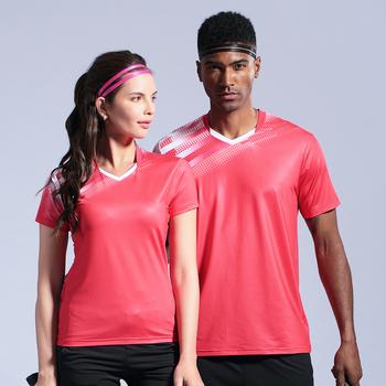 Nowi mężczyźni kobiety koszulka do badmintona odzież sportowa koszule stół trening tenis gra zespołowa koszulka odzież sportowa tanie i dobre opinie wsryxxsc Poliester spandex Krótki Denim table tennis Badminton Pasuje prawda na wymiar weź swój normalny rozmiar Anty-pilling