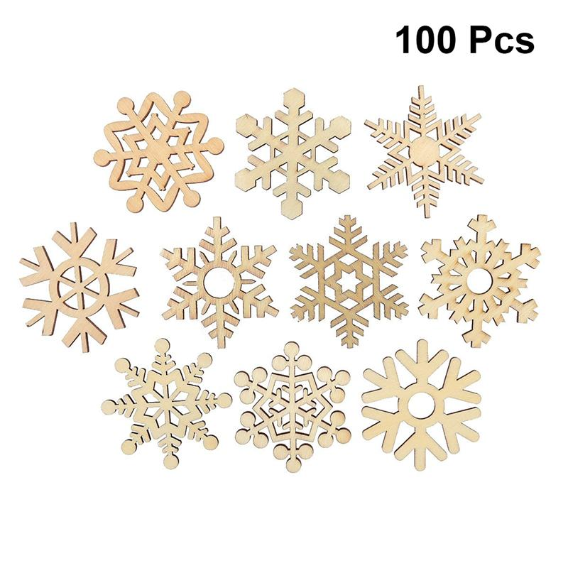 100pcs DIY Wooden Chips Christmas Ornaments Hanging Wooden Snowflake Party Props For Home Office Bar