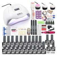 Set di unghie 120/72/54/6W lampada per unghie a LED UV per Gel per Manicure Set di smalti per unghie Kit per smalto elettrico per unghie Manicure strumenti per Nail Art