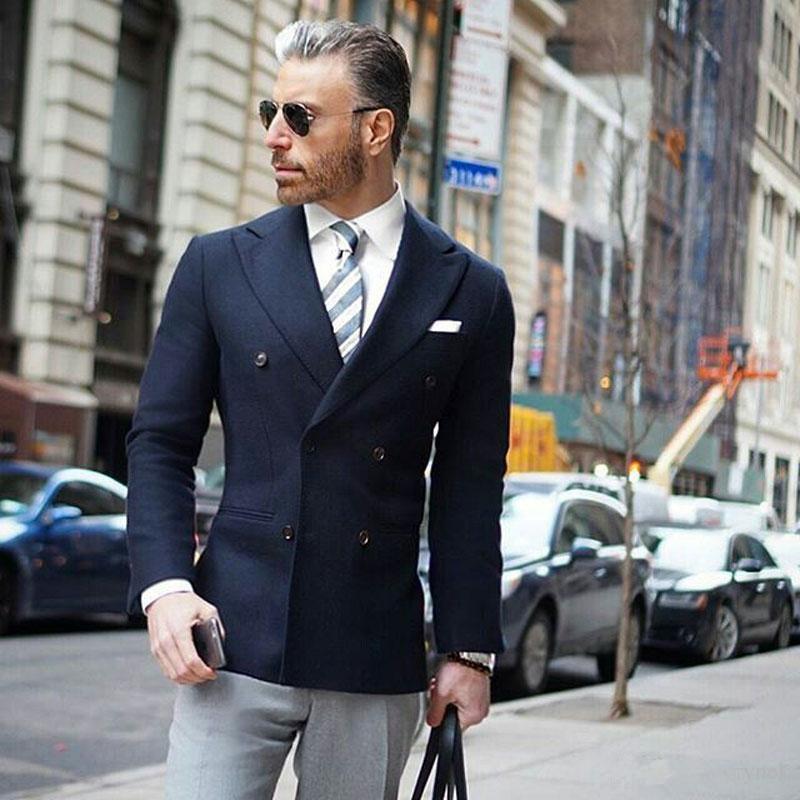 Gentle Navy Blue Men Suits For Wedding Groom Tuxedo Business 2 Pieces Man Suits(Grey Pants+Navy Jacket) Groomsmen Blazer
