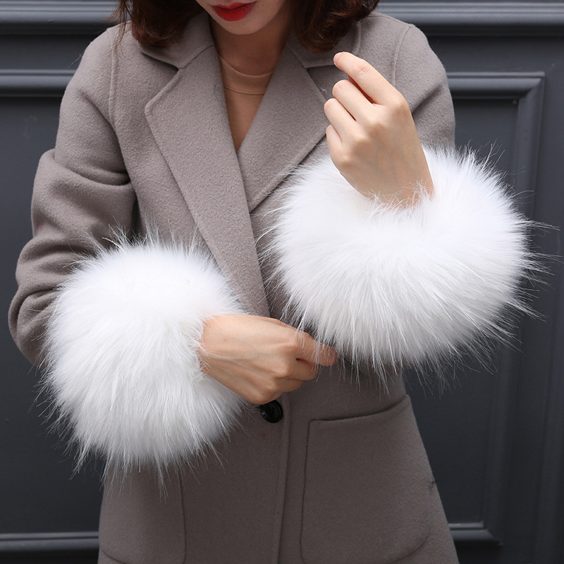 Cuff-like Fur Glove, Windproof Cuff Sleeve, Bracelet, Fox-like Hair Cute Wrist Sleeve Winter Women