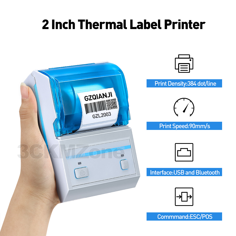 Pocket Printer Compatible with Android and iOS Pink Thermal Bluetooth Label Maker with 3 Roller Label Paper Portable Mini Printer Image Photo Printer Mini Wireless POS Thermal Printer