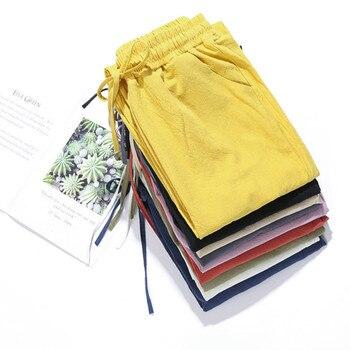 Spring Summer Casual Pants Fashion Women Trouser Cotton Linen Elastic Waist Harem Pencil Pockets Loose Plus Size Trousers