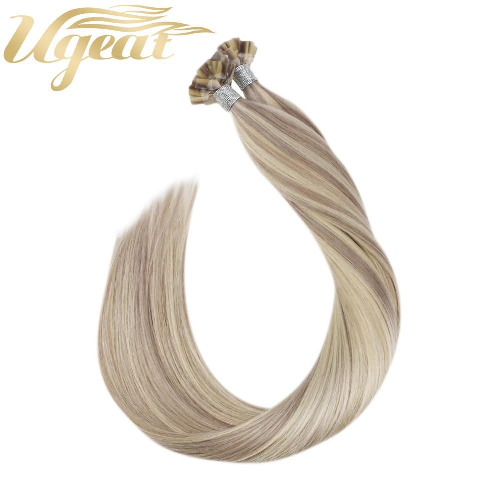 Ugeat Flat Tip Hair Extensions Human Hair Machine Remy Hair 14-24inch 50Strand/Pack Natural Straight  Pre Bonded Hair Extensions