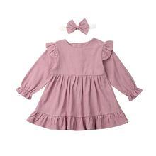 Платье для маленьких девочек от 1 до 5 лет платье принцессы с оборками и длинными рукавами для девочек, весенне-Осенние костюмы для девочек