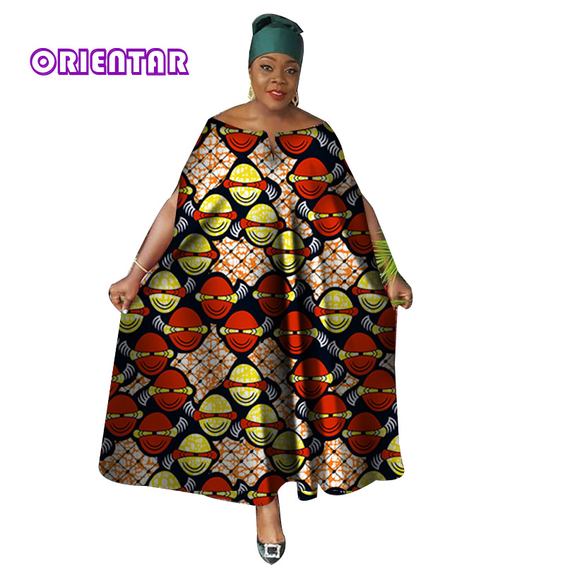 Casual African Dresses For Women Maxi Dress African Wax Print Bazin Riche Ankara Gown Loose Plus Size Long Dashiki Dress WY3958