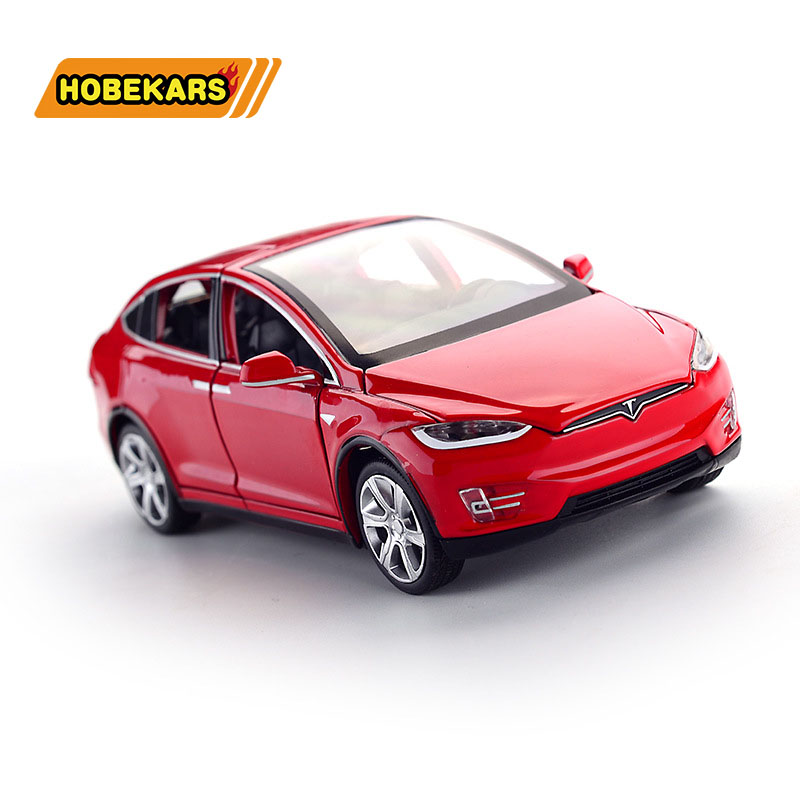 Diecast Vehicles Tesla SUV 1:32 Model Car Metal Alloy Simulation Pull Back Cars Lights Toys For Kids Gifts For Children