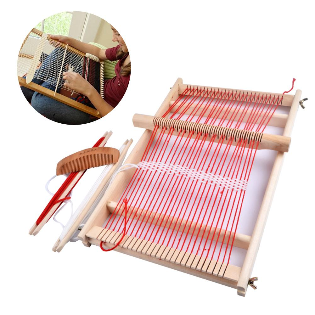 Wooden Sewing Machine Weaving Loom Kit Hand Craft Woven DIY Suit Wooden Multifunctional Loom Wool Hook Looms Household Supplies