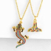 Paved Color CZ Stone Animal Lizard Necklace Gold Copper Merm
