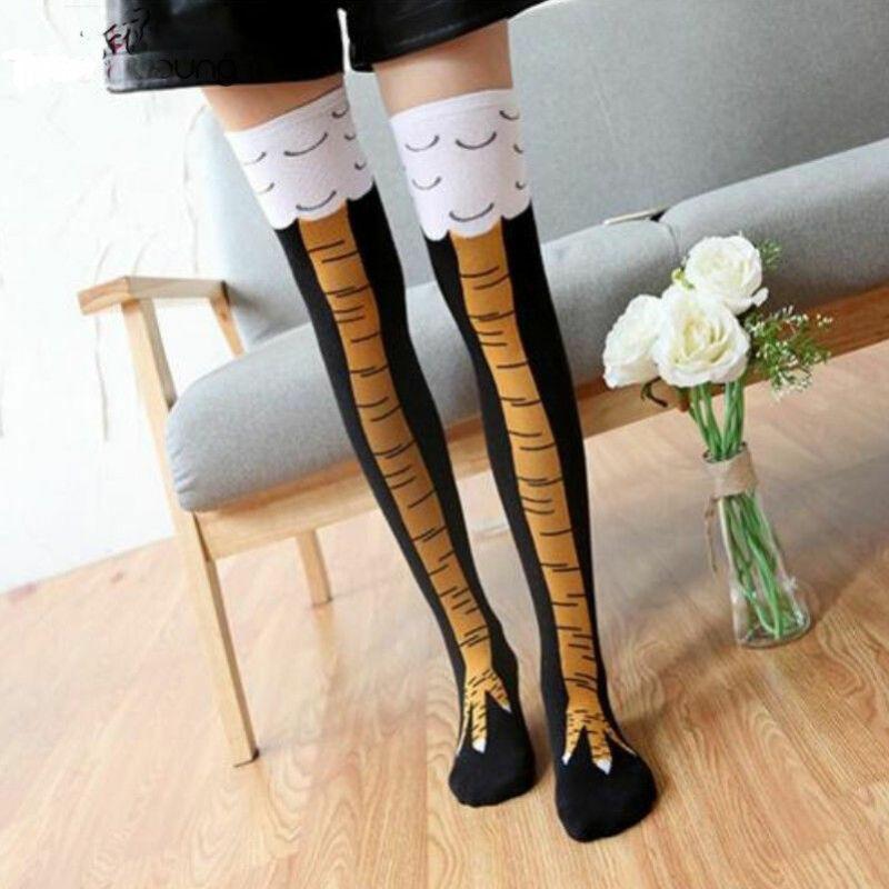 Women Girl Knee-High Socks Chicken Leg Fitness Chicken Print Creative Cartoon Animal Thigh Stockings Funny 3D Socks Hot Sale