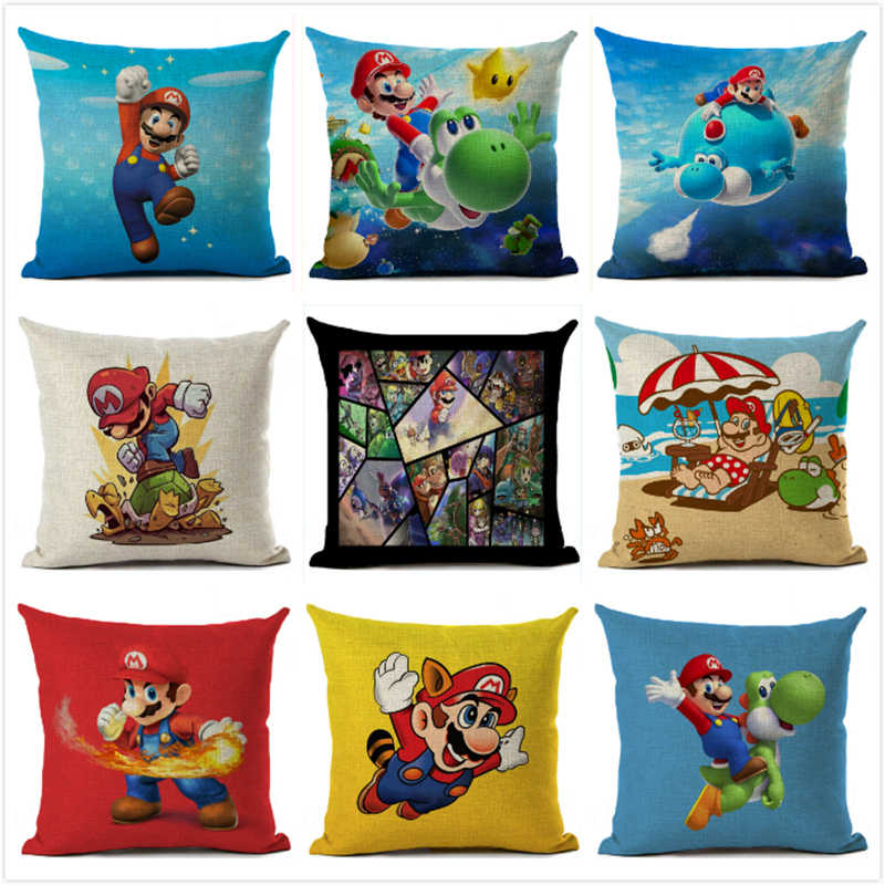BRAND NEW LUXURY PERSONALISED SOFA GAMING CUSHION COVER TEXT MARIO AND LUIGI
