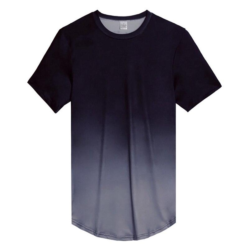 Футболка с коротким рукавом и круглым вырезом, градиентный цвет, свободная футболка из микрофибры, Верхняя Нижняя рубашка, одежда - Цвет: A