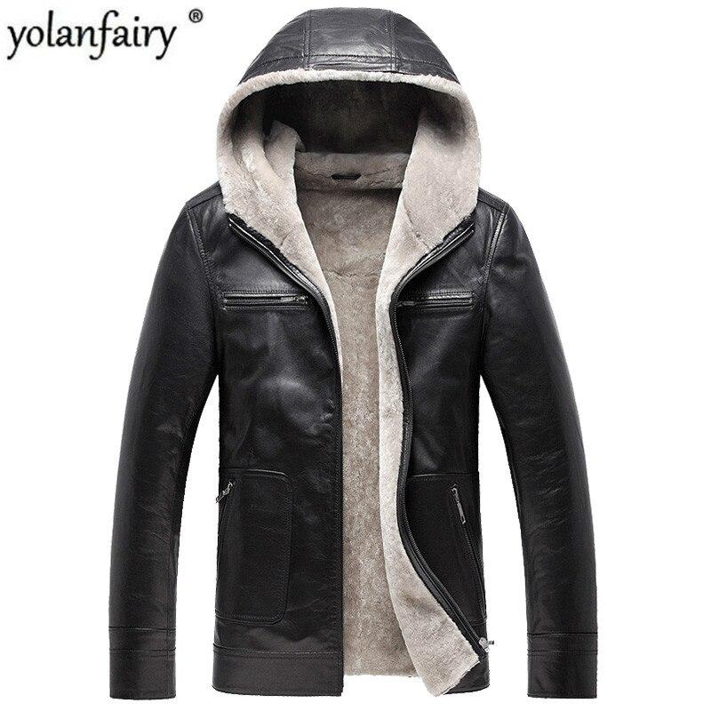 Genuine Leather Jacket 100%Natural Wool Fur Warm Coat Winter Jacket Men Real Goatskin Jacket Chaqueta Hombre DXL1571 MY1589