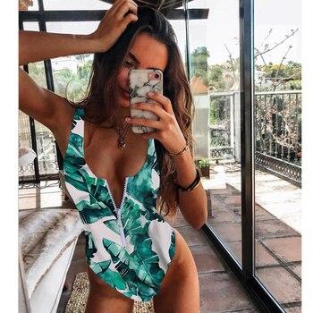 New Sexy Zipper One Piece Swimsuit Women Swimwear Push Up Monokini Bodysuit Swimsuit Print Bathing Suit Summer Beachwear XL 11